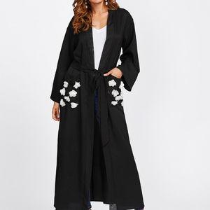 Tops - Contrast Flower Applique Pocket Belted Abaya